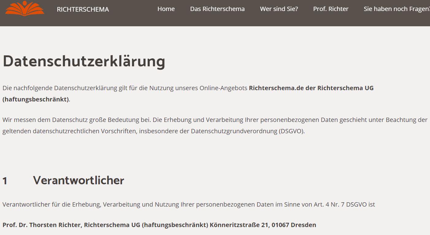 Datenschutzerklärung Webseite